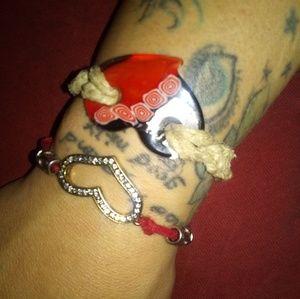 Handmade macrame heart bracelet set